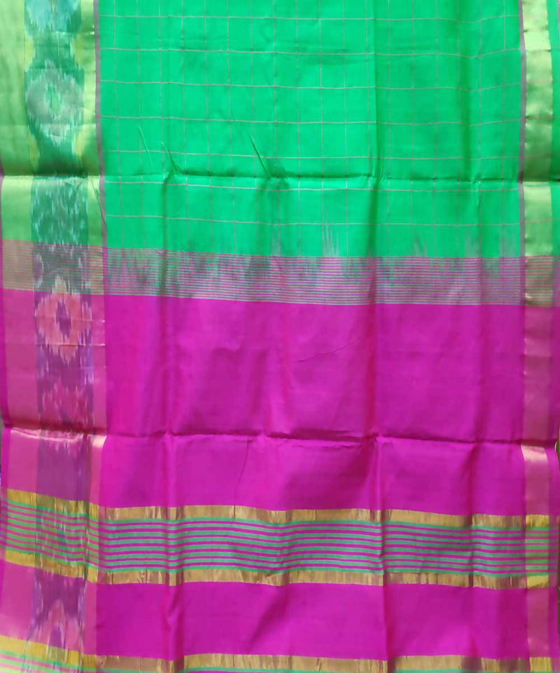 grass green Handwoven Venkatagiri Cotton silk saree