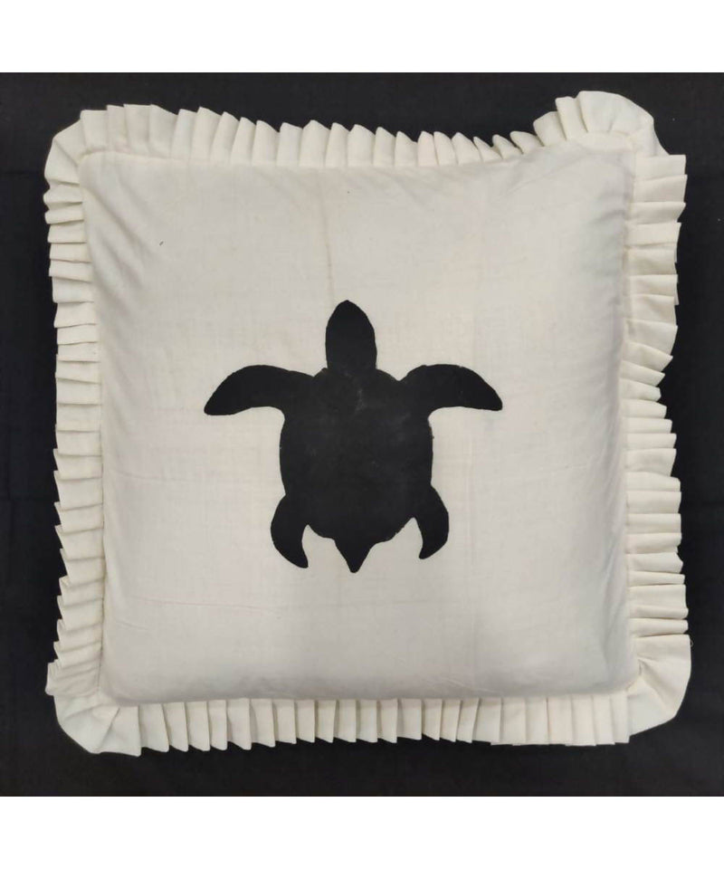Offwhite handwoven turtle motif cotton cushion cover