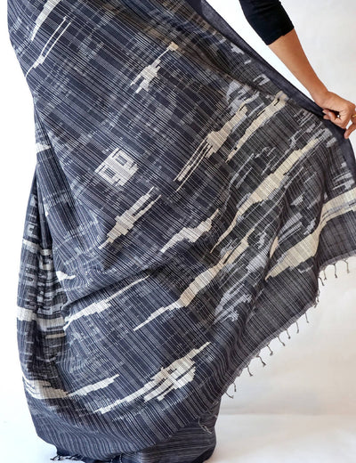 Bavanbuti Handloom Black Cotton Saree