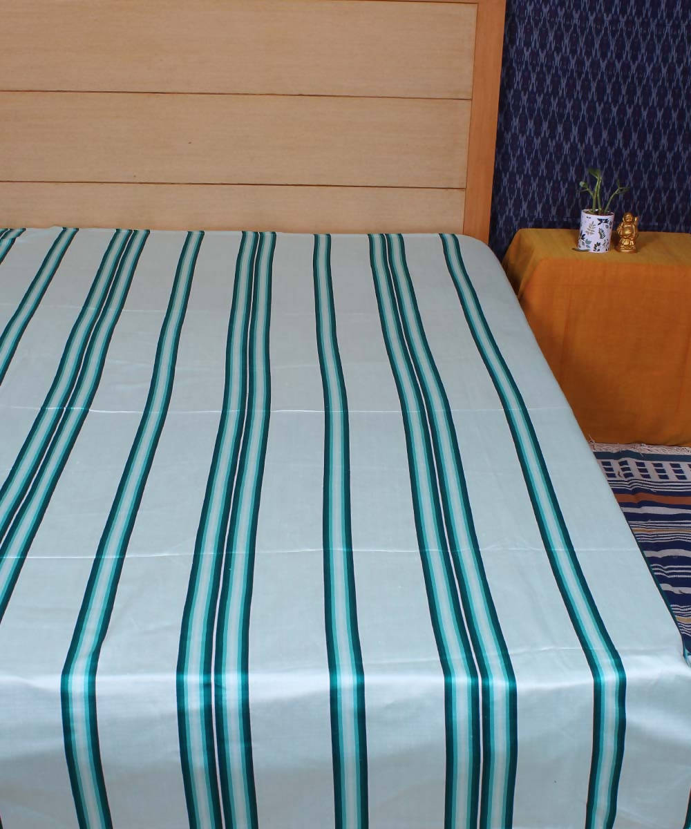 White Satin Weave Handloom Cotton Bed Cover