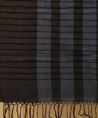Light and Dark Blue Stripes Handwoven Cotton Saree