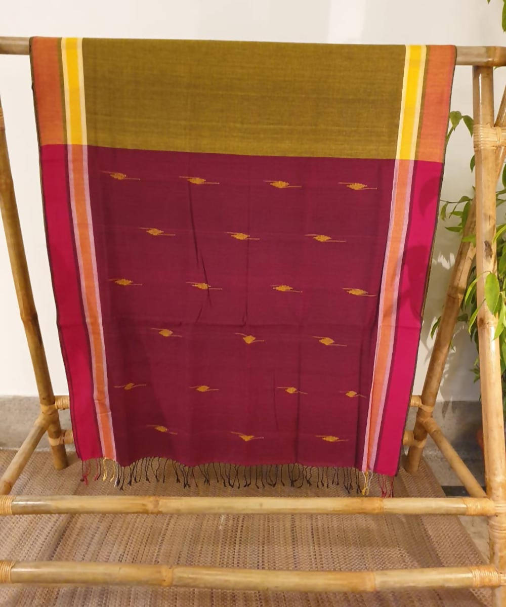 Mustard green and maroon assam handloom cotton saree