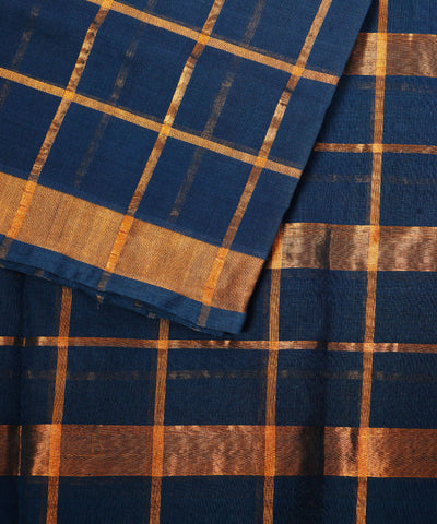 Teal Green Checks Handloom Venkatagiri Saree