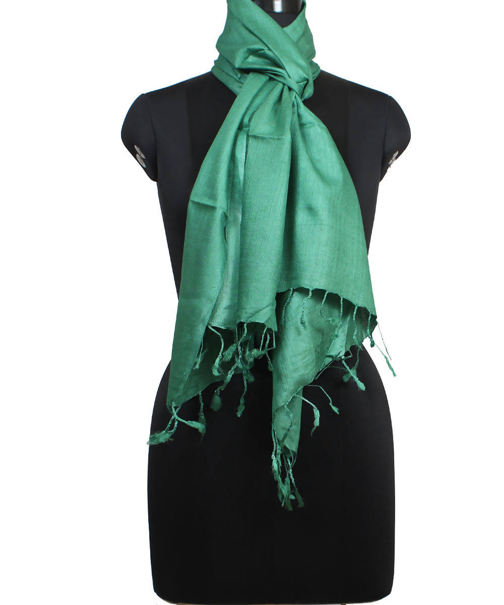 Emerald Green Handloom Tussar Silk Stole