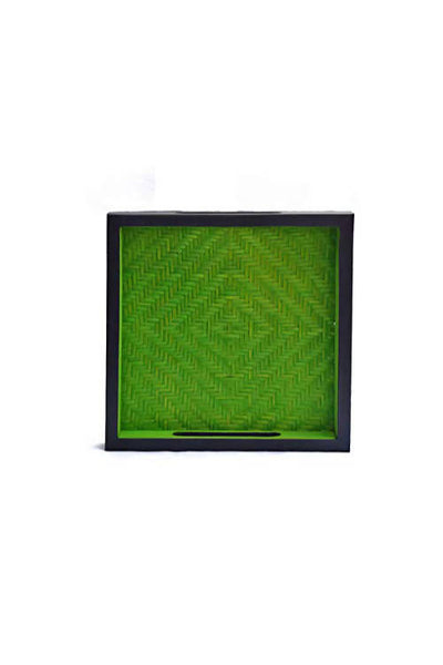 Green and Black Handmade Bamboo Square Tray (Small)