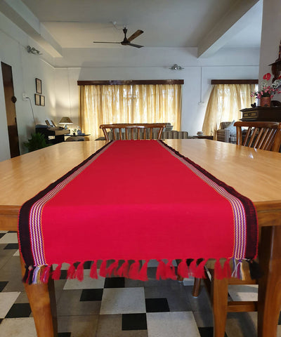 Red black handloom acrylic table runner