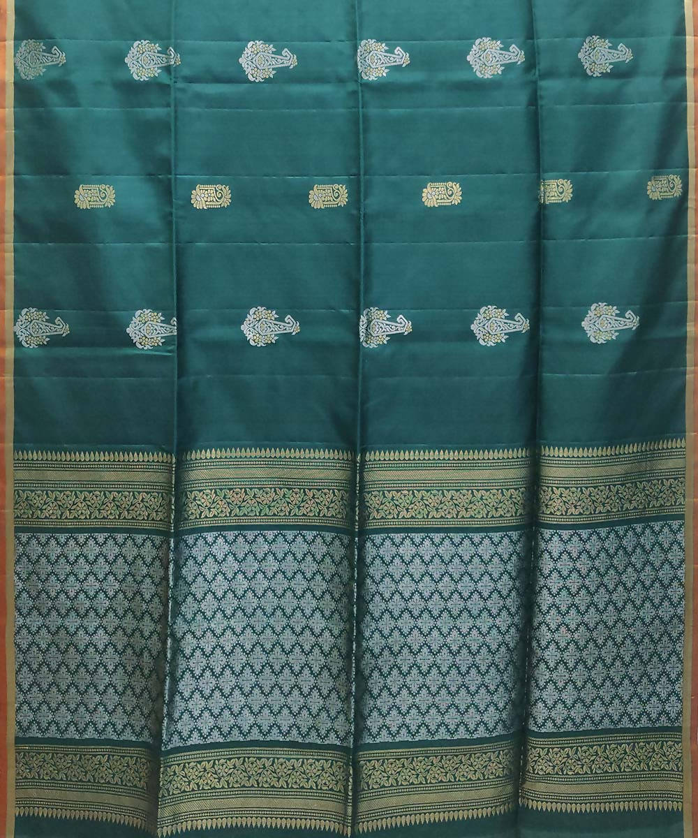 peacock Green orange Handloom kanchipuram Silk Saree