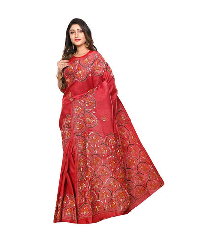 Red Handloom Kantha Stitch Tussar Saree