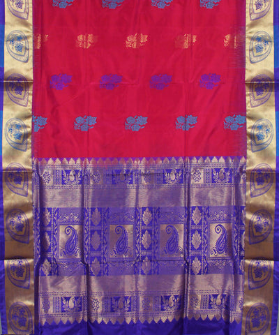 Red Magenta Karnataka Handloom Silk Saree