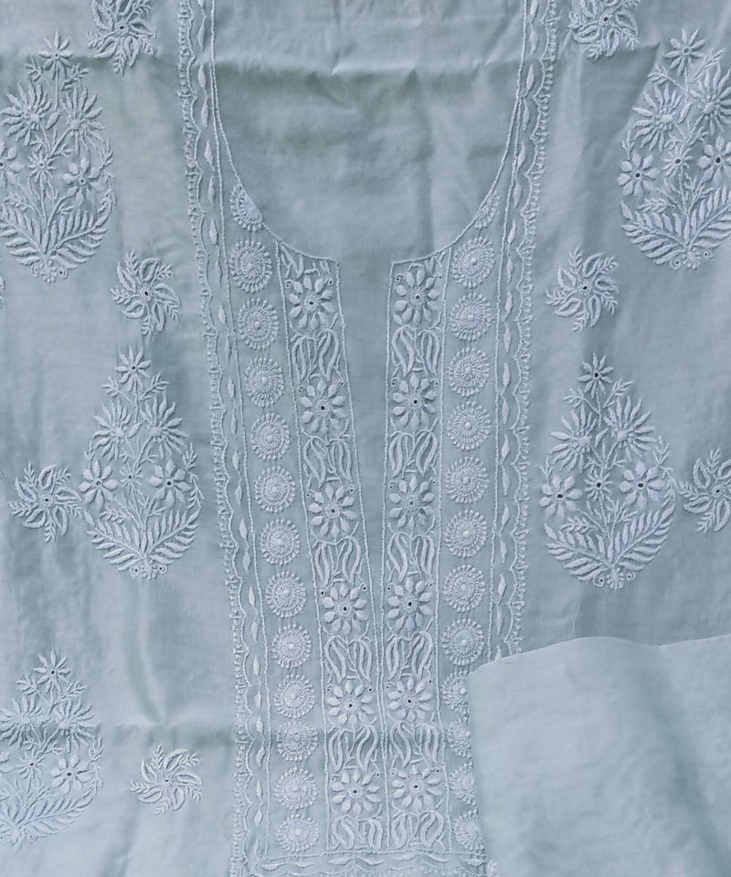 Pista green chanderi chikankari embroidery kurta fabric with dupatta
