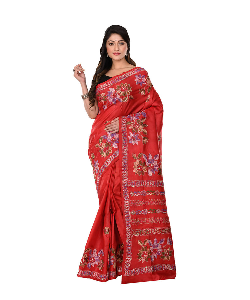 Dark red Kantha Hand stitched Silk Saree