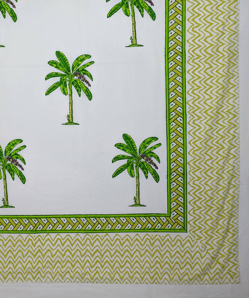 Banana tree hand block printed bed sheet