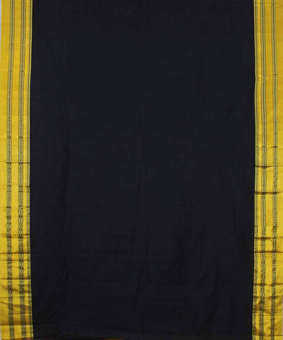 Black and yellow ilkal handwoven gomi dadi border saree