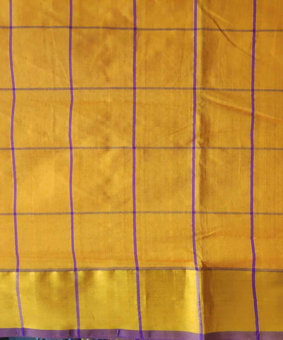 Chrome yellow checkered Handwoven Venkatagiri Cotton silk saree