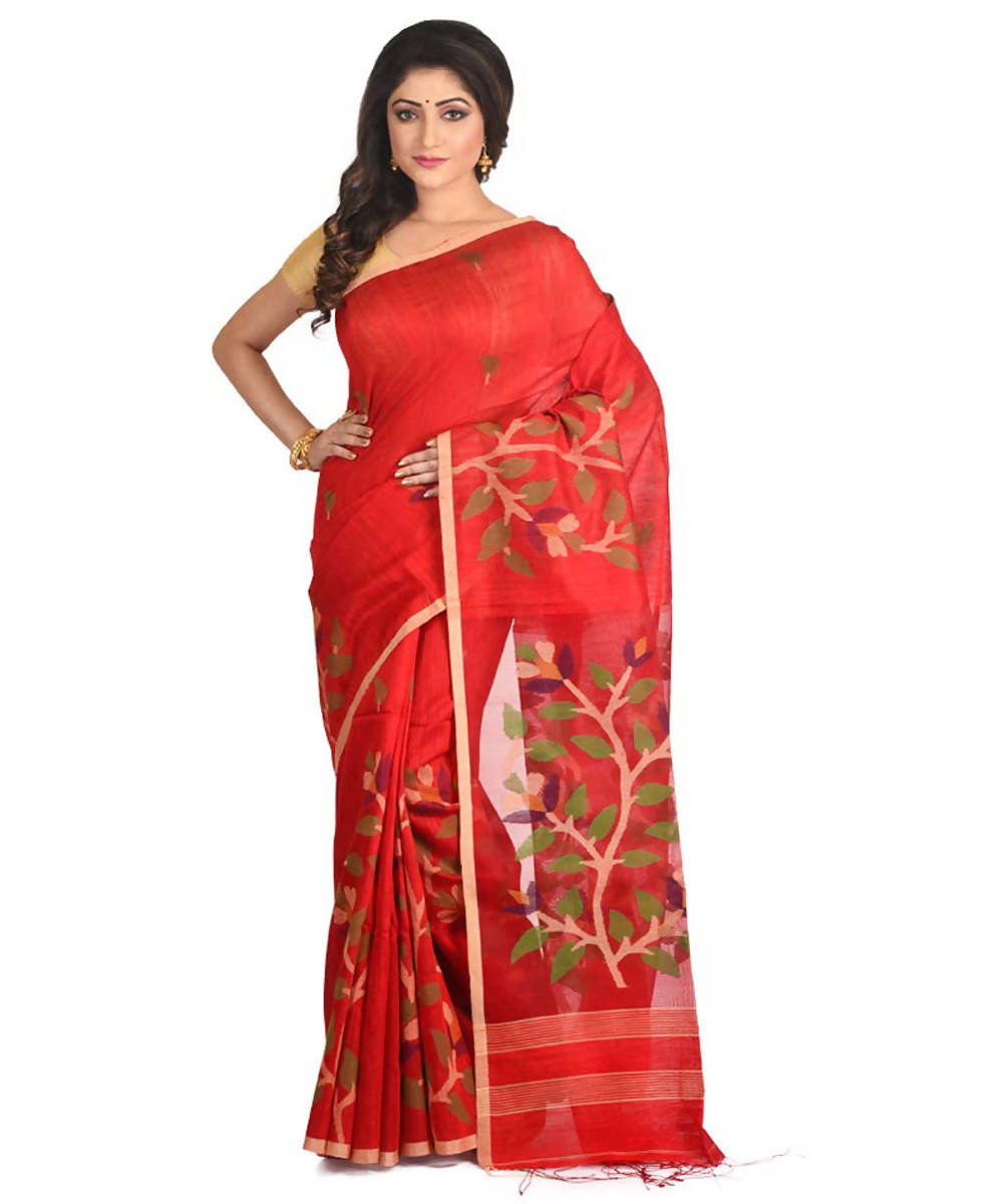Resham shilpi red bengal silk saree with handwoven jamdani work