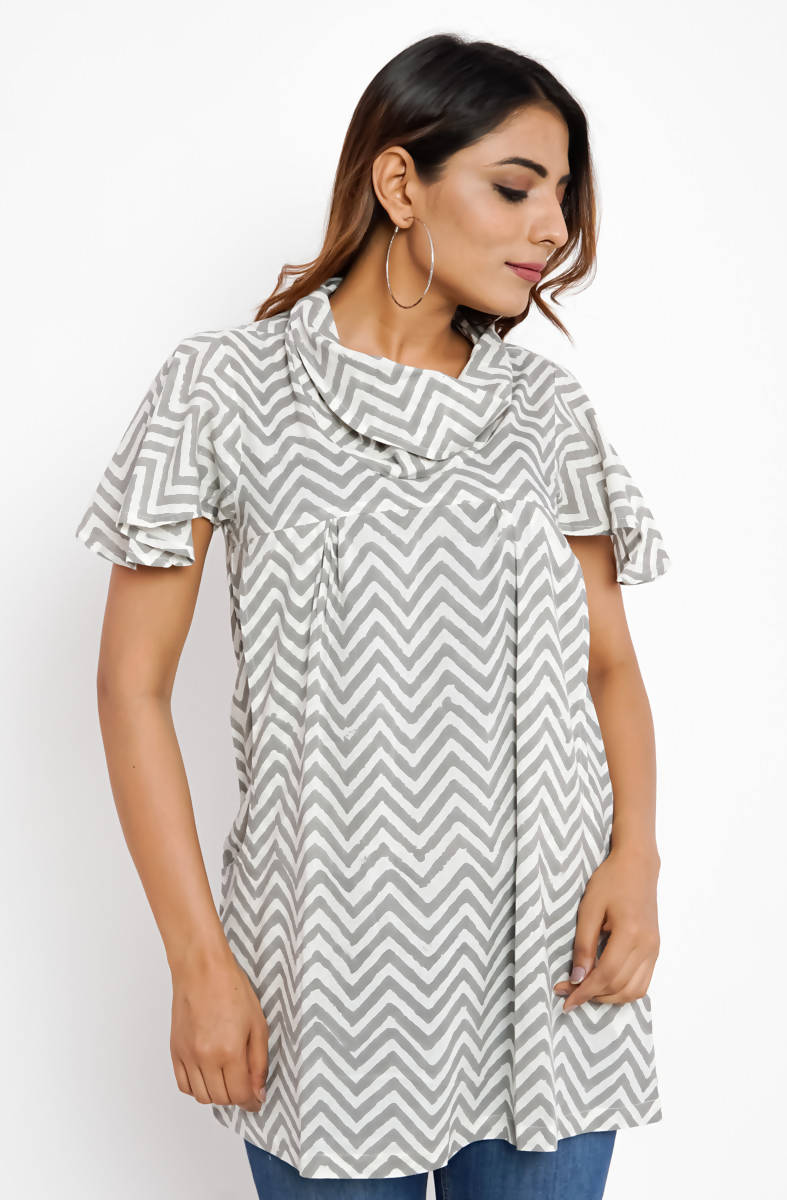 Grey and White ZigZag Striped Cowl Neck Hand Printed Cotton Top