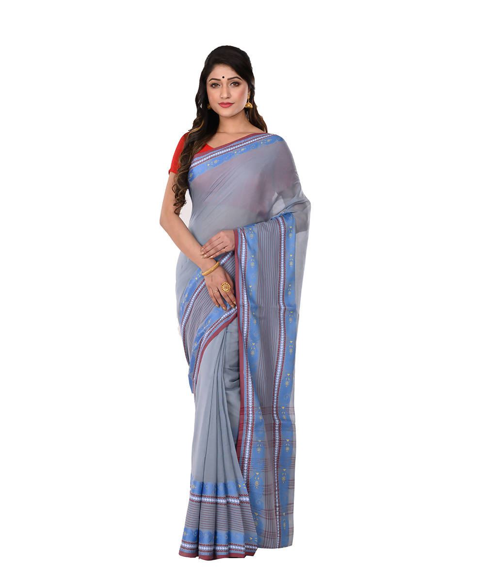 Blue Handloom Bengal Tangail Cotton Saree