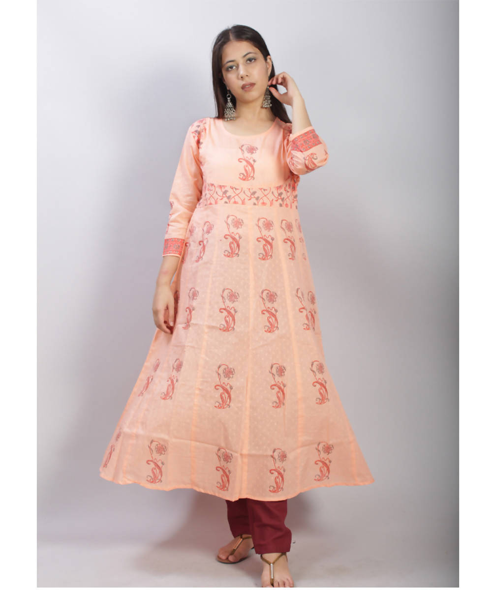 Peach hand block printed anarkali cotton kurti