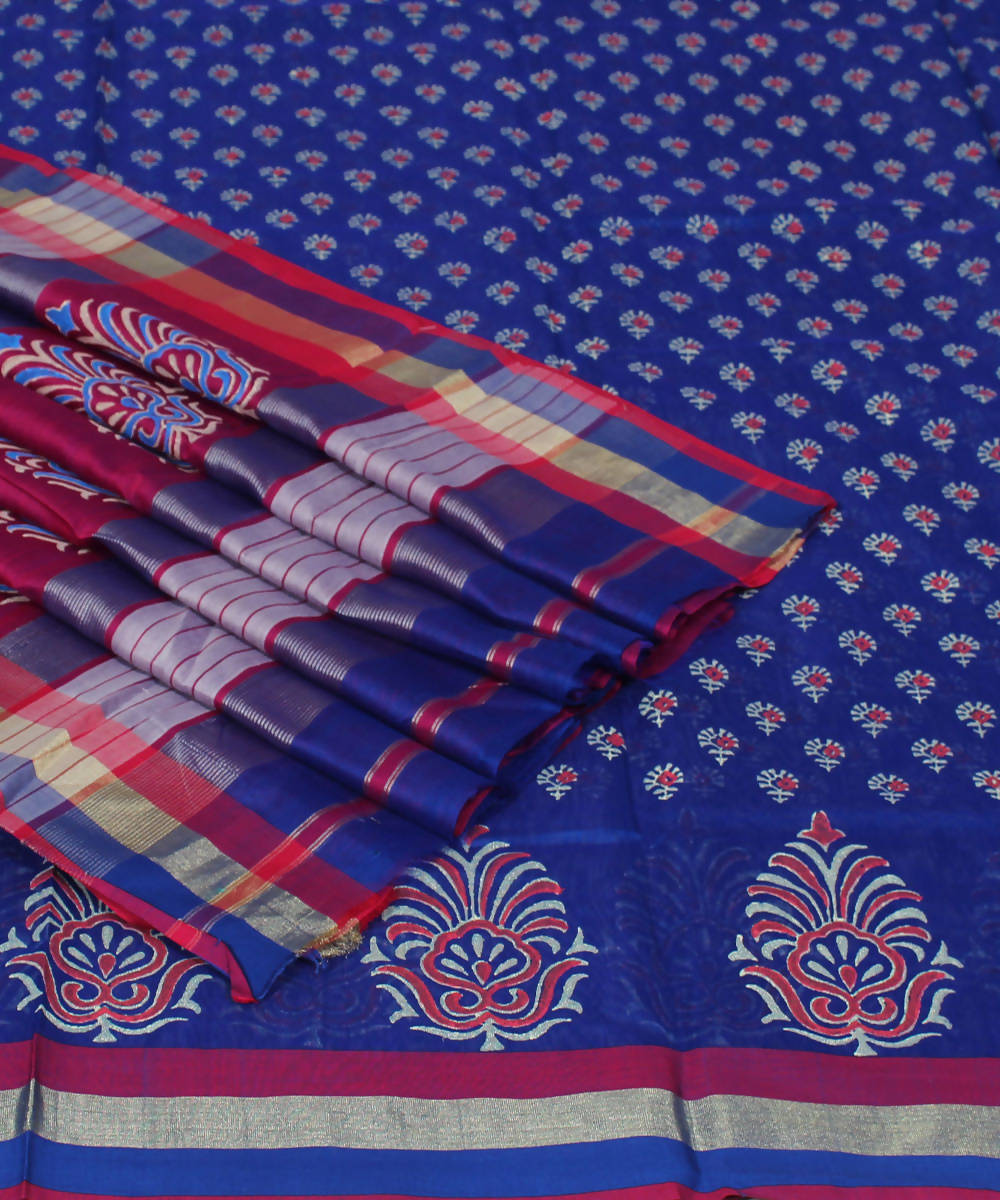 Navy Blue Printed Maheshwari Handloom Saree