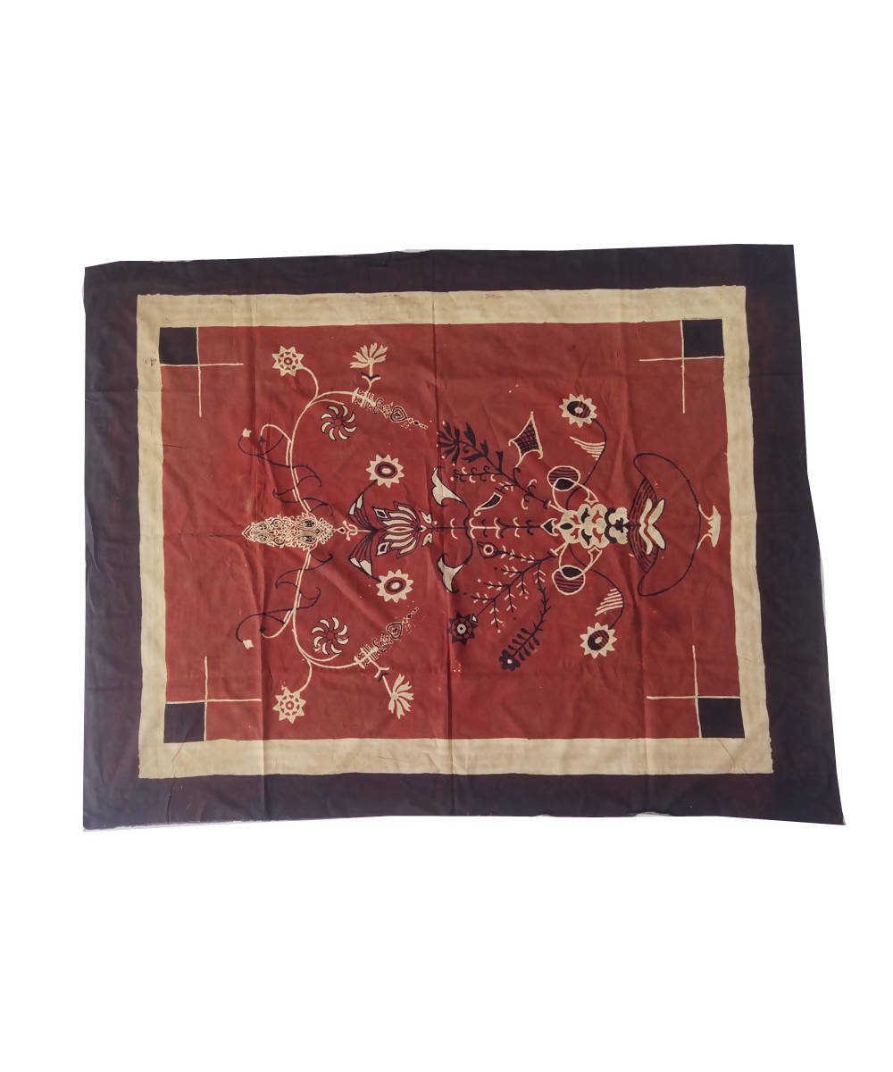Maroon natural dyed ajrakh handblock printed cotton wall hanging