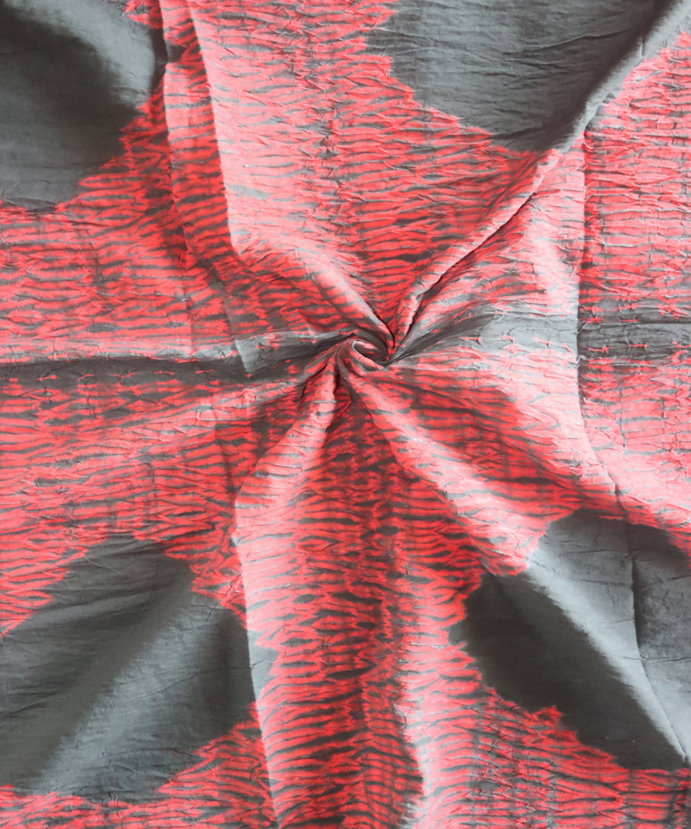 Red black shibori tie dye printed cotton fabric