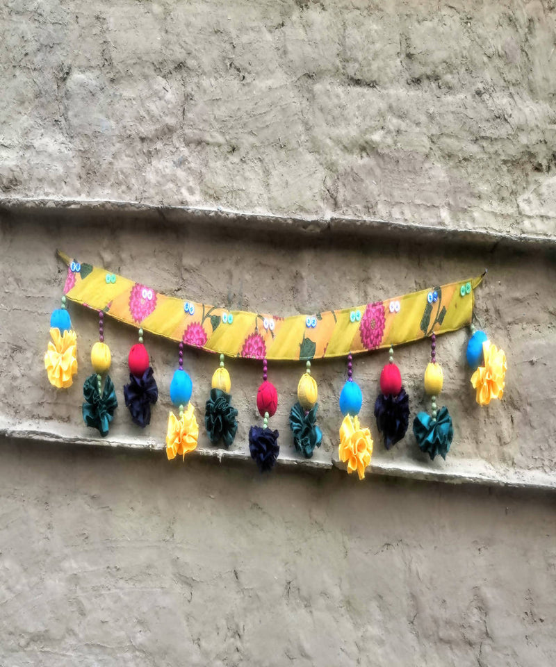 Yellow silk cotton handmade patch toran