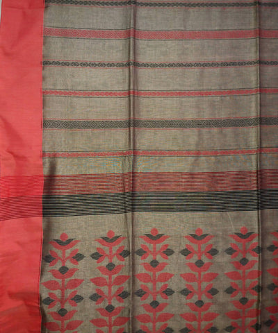 Light coffee brown handwoven cotton bengal saree