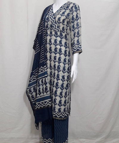 Indigo blue dabu handblock print chanderi cotton silk kurti set
