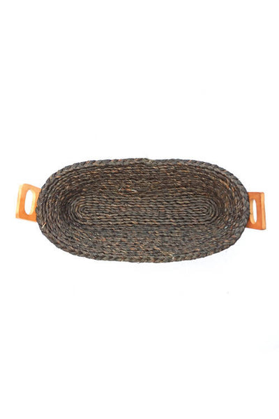 Black Handmade Sabai Grass Bread Basket (Large)