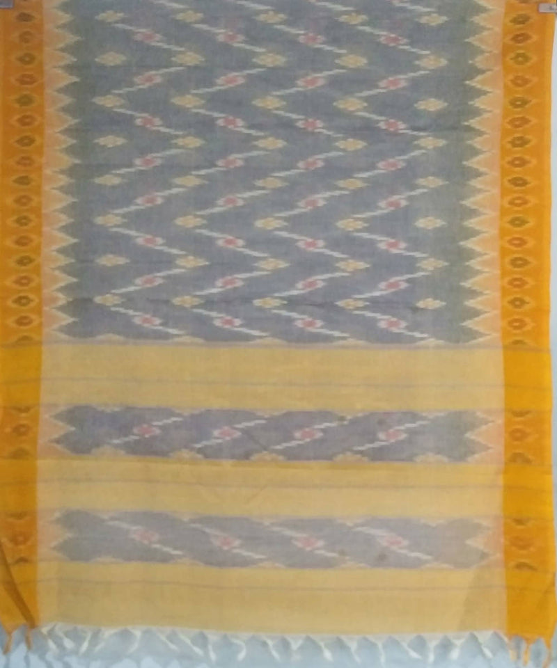 Grey yellow siddipet tie and dye handwoven cotton saree