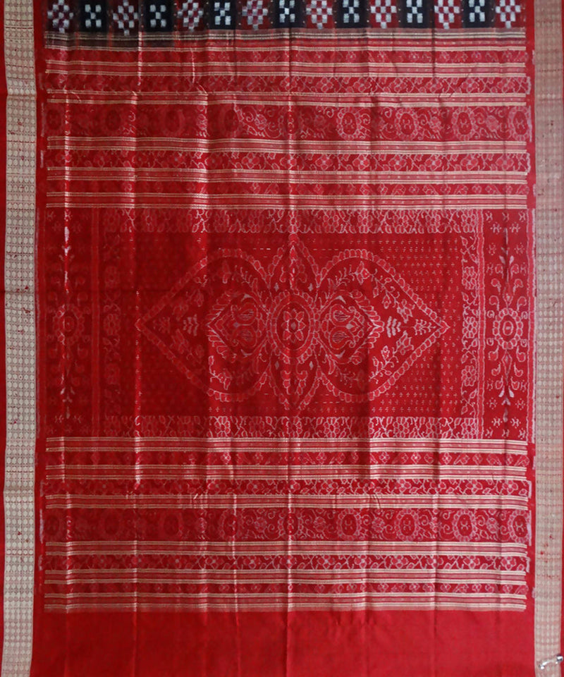 Pasapalli Ikat Red Black Silk Handloom Saree