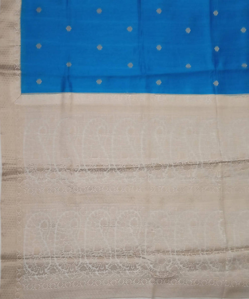 Banarasi Blue and Cream Handloom Silk Saree