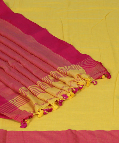 Yellow Handwoven Bengal Cotton Saree
