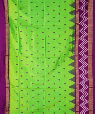 Lime Green Handloom Ikkat Silk Saree