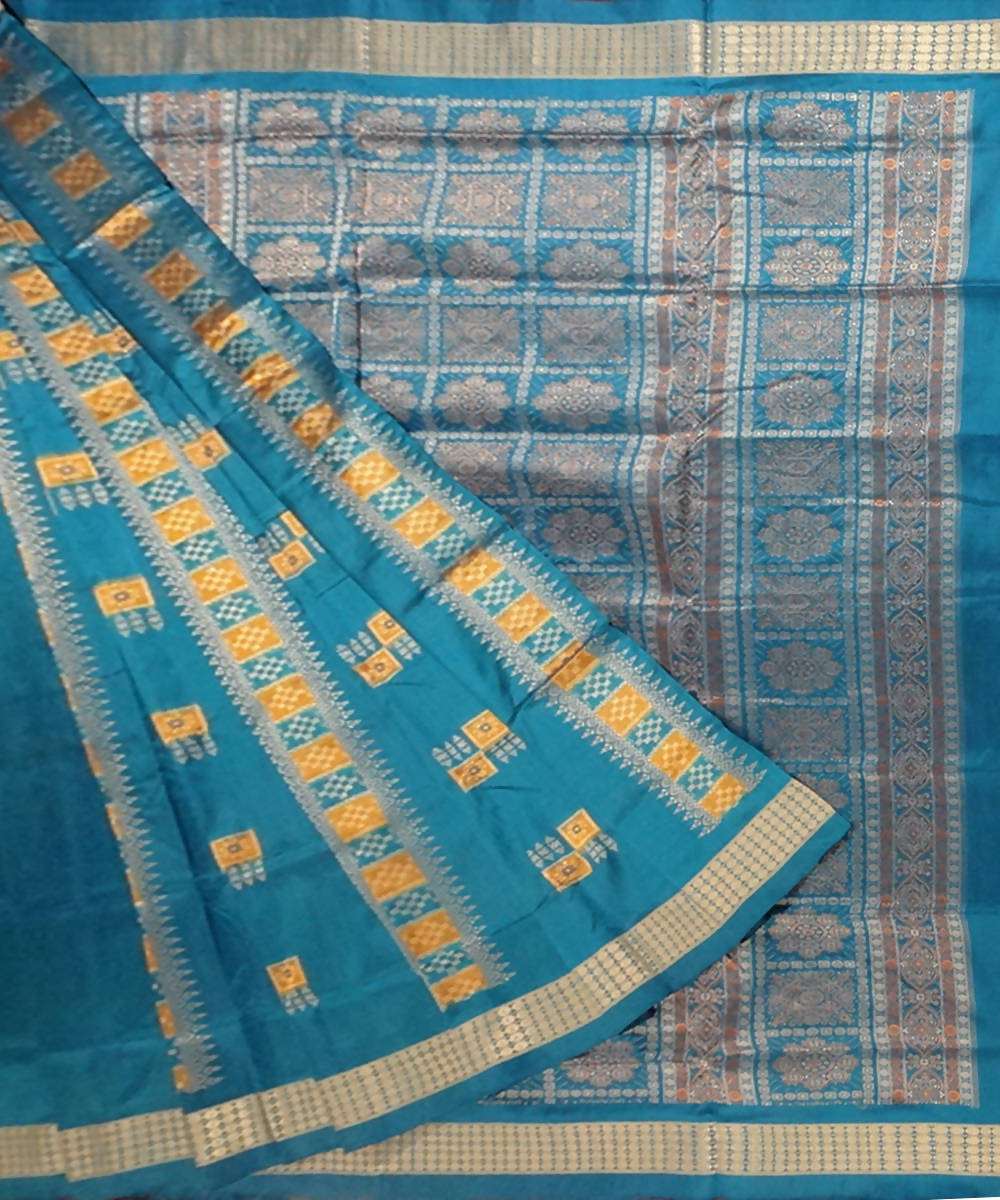 French blue bomkai handloom silk saree