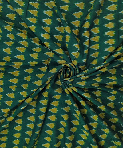 dark green and yellow cotton Handwoven Pochampally Ikat Fabric