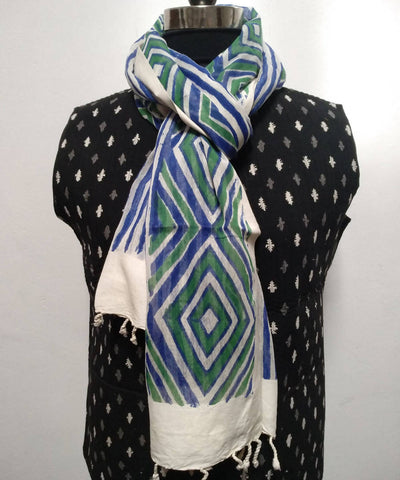 White Green Handblock Floral Printed Cotton Silk Stole