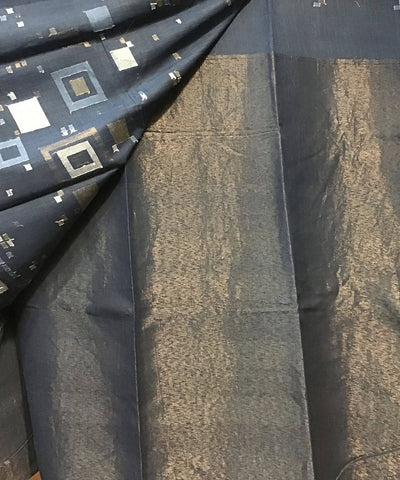 Dark Grey Natural Dye Jamdani Handwoven Cotton Saree