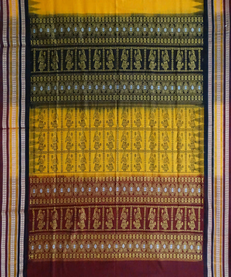 Yellow Handloom Bomkai Cotton Saree
