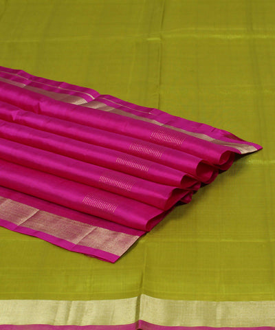 Lime and Purple Karnataka Handloom Silk Saree