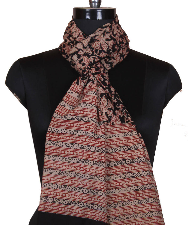 Handblock Print Abstract Kalamkari Stole