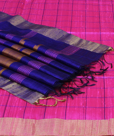 Pink Purple Checks Khadi Handloom Silk Saree