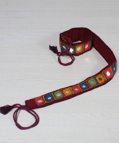 Lambani Mirror Work Burgundy Embroidery Belt
