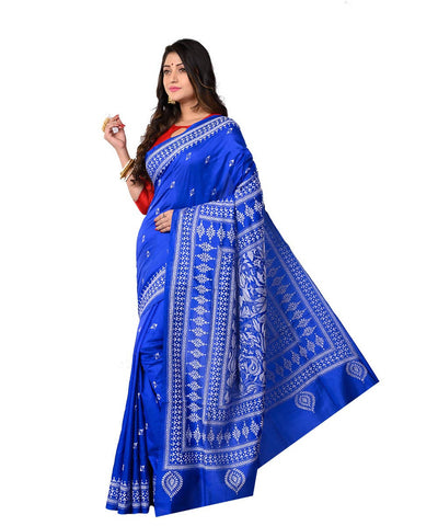 Blue Bengal Handcrafted Kantha Stitch Saree