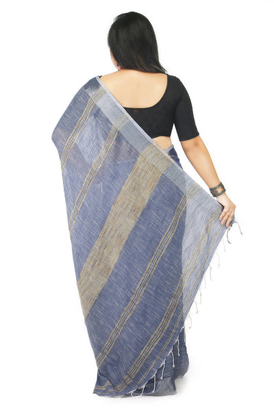 Blue grey handloom bengal cotton and linen saree