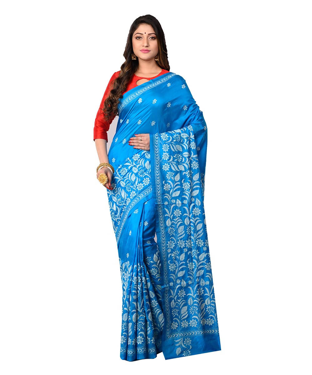 Bengal Sky Blue Handloom Kantha Stitch Saree