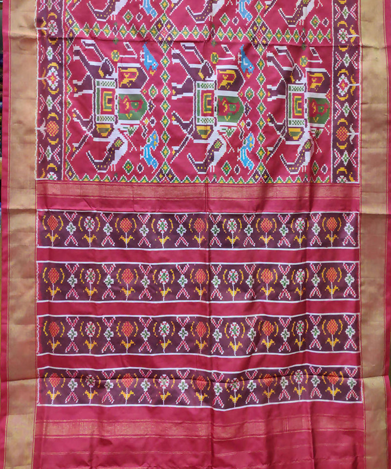 Handwoven ikkat red pink silk pochampally saree