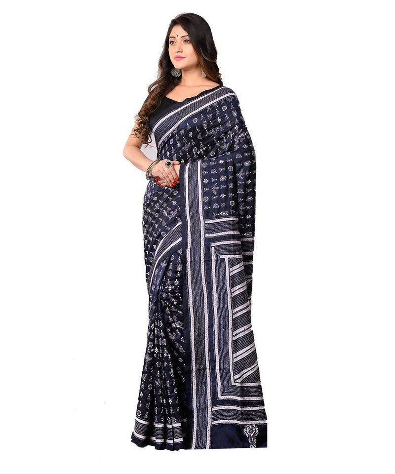 Kantha Stitch Black Bengal Handcrafted Saree