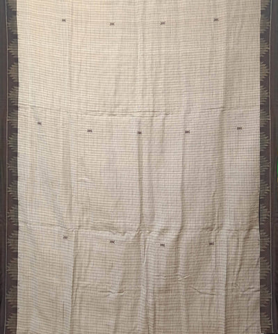 Off White Handwoven Kotpad Cotton Tussar Natural Dye Saree