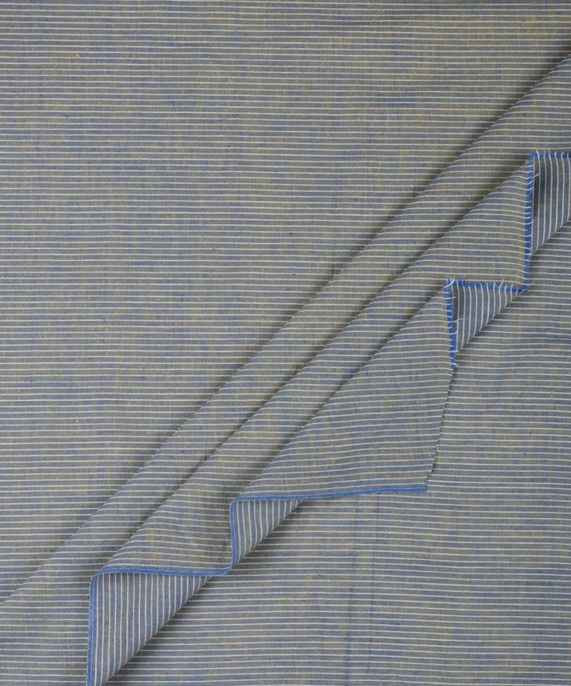 Blue yellow handwoven cotton fabric